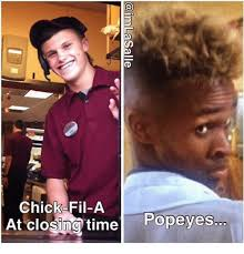 Chick Fil A Meme - chick fil a at closing time popeyes chick fil a meme on esmemes com