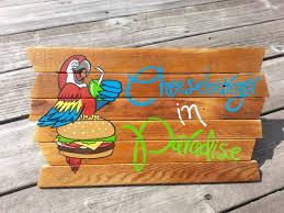 margaritaville cartoon cheeseburger in paradise jimmy buffett painting on reclaimed wood