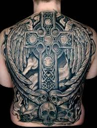 superb complete back featuring a celtic cross and a pair of