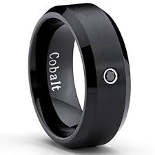 mens black engagement rings black cobalt ring s wedding band with 0 04 real black