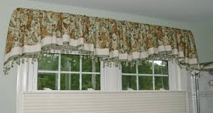 gathered scalloped and banded soft valance with beaded trim window