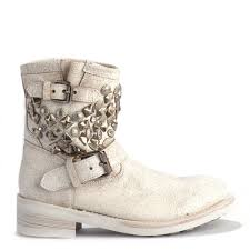 lace up biker boots ash titanic all white u0026 silver studded ankle biker boots