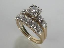 vintage wedding ring sets vintage wedding rings set 0 54 carats vintage wedding ring