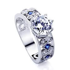 engagement rings with blue stones platinum plated sterling silver wedding engagement ring blue
