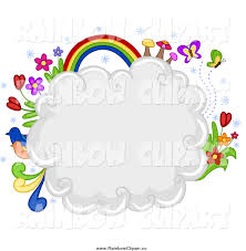 Flowers For Birds And Butterflies - vector clip art of a puffy cloud with flowers birds butterflies
