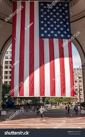 Big American Flags 04092017 Boston Massachusetts Usa Standing Stock Photo
