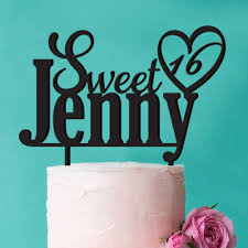 16 cake topper sweet 16 heart personalized cake topper personalized wedding
