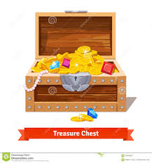 treasure chest full of gold coins and gem stock photos image