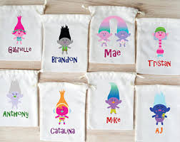 personalized goodie bags trolls party bag etsy