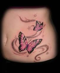 flying pink butterfly on side belly tattooshunter com