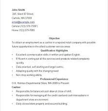 Retail Store Resume Objective Sample Resume For Cashier Retail Stores Download Cashier Resume