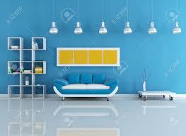 Blue Livingroom Velvet Modern Couch In Blue Living Room Rendering Stock Photo