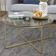 round gold glass coffee table vintage glass coffee table furniture living room modern round gold