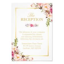 wedding reception cards wedding reception chic floral gold frame card zazzle