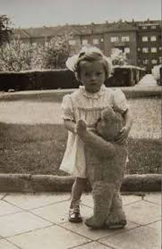 little and her teddy bear vintage photo children with