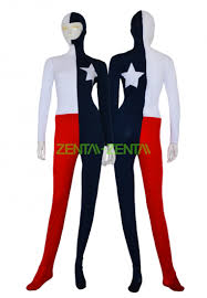 texas flag zentai suit red white and navy spandex lycra bodysuit