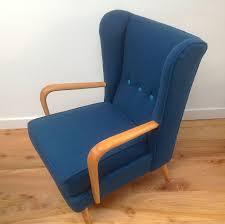 vintage 1950s howard keith wing back armchair teal kvadrat wool