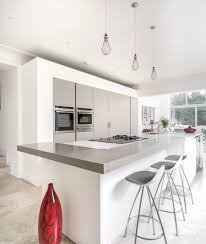 modern open plan kitchen design using polished concrete kitchen