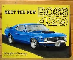 ford mustang metal wall mustang 429 tin sign ford blue garage car vtg metal