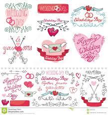 Cards Invitation Wedding Decor Elements Set Labels Cards Invitation Stock Vector