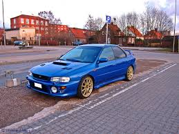 blue subaru gold rims subaru impreza gt a nice blue subaru impreza gt with a big u2026 flickr
