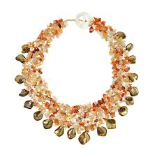 orange statement necklace images Bold colorful orange carnelian pearls seashell cluster statement jpg