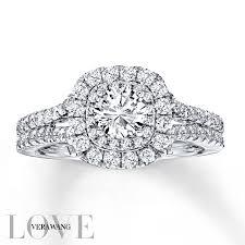 3 4ct pave halo blue kay vera wang love 1 1 2 carat tw diamonds 14k white gold ring