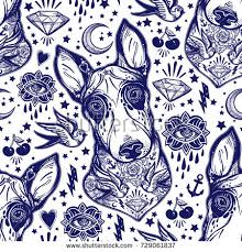 vintage style traditional tattoo flash bull stock vector 729061837