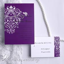 purple wedding invitations purple curly ornament wedding invitation iwi113 wedding