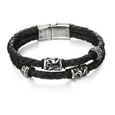 beaded bracelet leather images Fred bennett oxidized stainless steel black leather tribal bead jpg