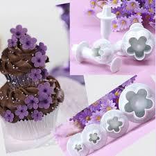 flower fondant cakes 4pcs set christmas kitchen plum flower plunger fondant cookie