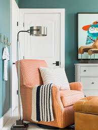 light gray nursery paint color with blue dresser transitional