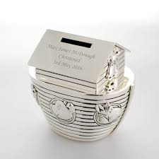 baptism engraving personalised noahs ark money box engraved christening gift