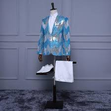 Light Blue Jacket Mens Jacket Pants Light Blue White Silver Sequins Tuxedo Stripe
