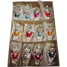 vintage box of 12 glass teddy ornaments made in