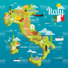 Sardinia Map Colorful Italy Travel Map With Attraction Symbols Italian