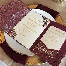 wedding invitations burgundy laser cut pocket wedding invitation kit burgundy wedding
