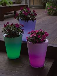solar illuminated planter small round gardener u0027s supply stuff