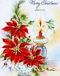 vintage greeting christmas card candles poinsettia flowers l356