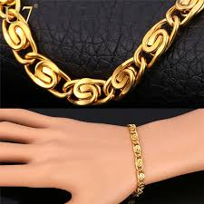 hand chains bracelet images Gold hand chain bracelet men jewelry 18k gold plated 316l jpg