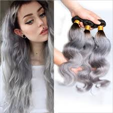 ombre hair weave african american 3pcs 70g granny grey synthetic hair weft weaving black grey ombre