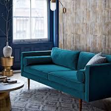 Monroe MidCentury Sofa Celestial Blue Luster Velvet West Elm - Midcentury sofas