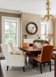 white wing chair dining room transitional with nailhead trim