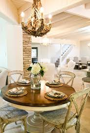 round kitchen tables dining room shabby chic style with worn wood