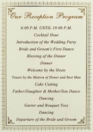 sle of wedding reception program traditional wedding reception order of events wedding ideas 2018