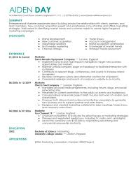 Best Resume In Word by Resume In Marketing Resume For Your Job Application