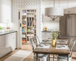 45 use the following kitchen pantry design ideas to create a modernkitchen kitchendesign whitewallpaper farmtable metalchairs diningtable diningchairs interiordesign