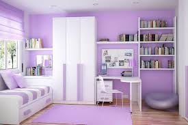 Bookshelves On The Wall Fancy White And Purple Bedroom Interior Design For Girls With