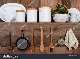 closeup rustic kitchen wall one shelf stock photo 172853369