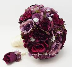 groom s boutonniere plum lavender roses and hydrangea bridal bouquet rhinestone